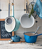 Saucepans and various utensils in a kitchen