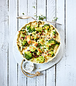 Broccoli gratin with bacon