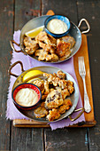 Fried oyster mushrooms, mayo lemon dip