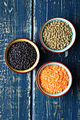 Green, red and black lentils