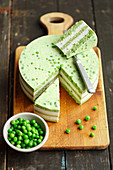 Green peas and cream cheese terrine with horseradish