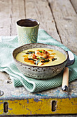 Cream of potato soup with chicken and sage