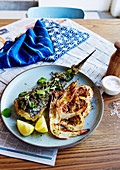 Roasted flathead with spring onion salsa