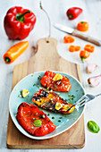Grilled pepper slices with herbs and garlic