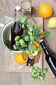 Winterlikör aus Dunkelbier, Cognac, Ingwer und Nelke