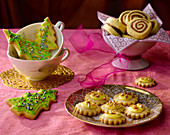 Christmas biscuits for tea: black-and-white spirals, Christmas trees and orange biscuits