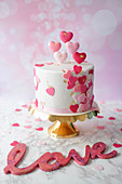 A Valentine's Day cake with stracciatella base, buttercream and cherries