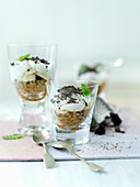 Banoffee pie in shot glasses