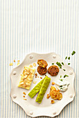 Buckwheat fritters, semonlina slices and matcha sticks for children