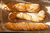 Three freshly baked baguettes on a baking sheet (top view)