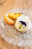 Quark pudding on chestnut purée