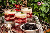 Glasses of berry tiramisu and a bowl of blackberries