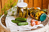 Homemade pickled gherkins