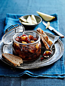 Apple and pear chutney in a glass jar