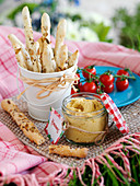 Bread sticks and hummus (picnic food)