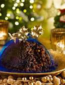 Christmas Pudding With Flaming Brandy
