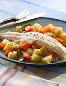 Gurnard with vegetables