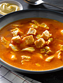 Shellfish soup with croutons