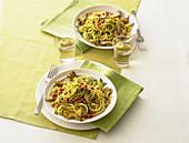 Spaghetti alla chitarra in verde with artichokes and pancetta