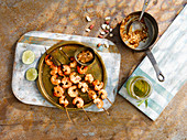 Prawn satay skewers with peanut sauce