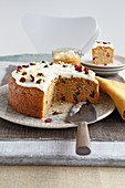 Pumpkin cake with cream cheese icing, sliced