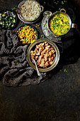 Indian lamb curry on a dark background