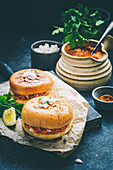 Spicy Pav Bhaji Masala filled between the buttered slider buns