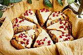 Guava Pomegranate Scones in a basket