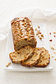 Banana bread with nuts and goji berries, sliced