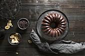 Banana and chocolate bundt cake (top view)