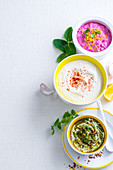 Yoghurt Sauces - Beetroot raita, Lemon tahini yoghurt, Chilli and coriander pesto yoghurt