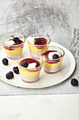 Blackberry and peach layered desserts