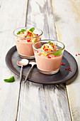 Tomato mousse with shrimps