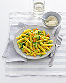 Penne with vegetables and saffron (Italy)
