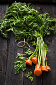 Fresh carrot tops on a wooden background