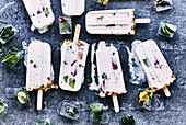 Yogurt and summer fruit popsicles topped with muesil granola. botanical ice blocks of edible flowers and herbs