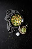 Kale-Chickpea Bowl with Avocado Hummus
