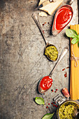 Ingredients for cooking spaghetti on rustic background