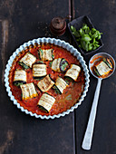 Cannelloni with spinach and aubergine (low carb)