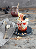Chia and poppy seed pudding with fruit and yoghurt (low carb)