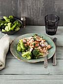 Geschnetzeltes mit Pilzrahm und Brokkoli (Low Carb)