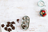 Chocolate crispie cakes, apple and chia seed cake in a glass and energy balls (low carb)