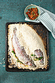 Trout in coarse salt crust