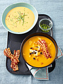 Sweet potato soup: classic and bacon varieties