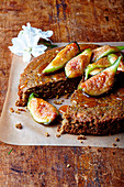 Pistachio and lemon cake with honey figs