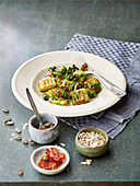 Gnocchi with spinach pesto and dried tomatoes