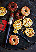 Doughnut rings and cinnamon buns