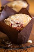 A vegan muffin with sugar glaze