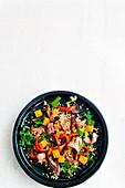 Steakstreifen mit Buchweizen und Ofengemüse