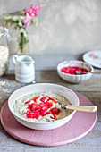 creamy porridge with rhubarb sauce